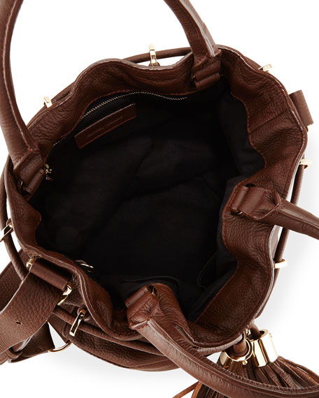 Vicki Leather Bucket Bag, Chocolate